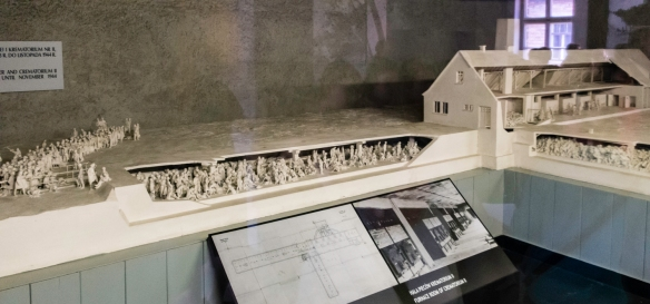 Construction drawings and model of gas chamber and crematorium II at Auschwitz, Oświęcim, Poland