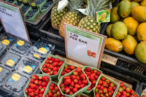 Fresh fruit, including local strawberries, Albert Cuyp Market, Amsterdam, The Netherlands