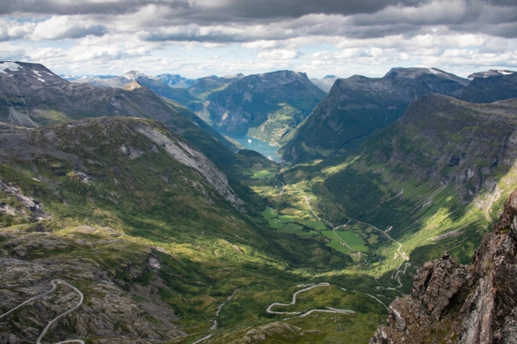 "Geirangerfjord and the twisting, winding Trollstigen mountain road viewed from the viewpoint (""Skywalk"") at the top of Dalsnibba Mountain, Geirangerfjord, Norway [""landscape"" (ho"