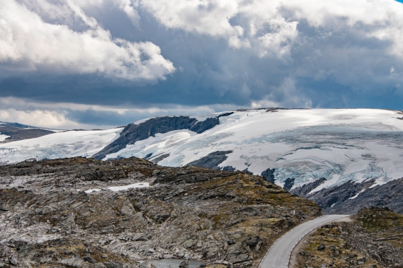 Glaciers (yes, small ones, but the snow does not melt during the summer) on the top of Dalsnibba Mountain, Geirangerfjord, Norway