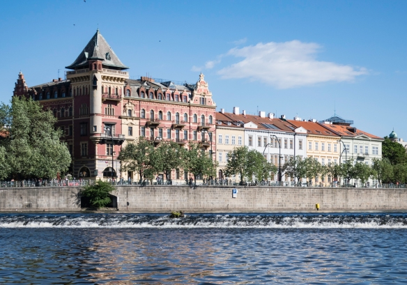 Historic buildings on the Old Town (eastern) side of the river – viewed from the Vltava River, Prague, Czech Republic