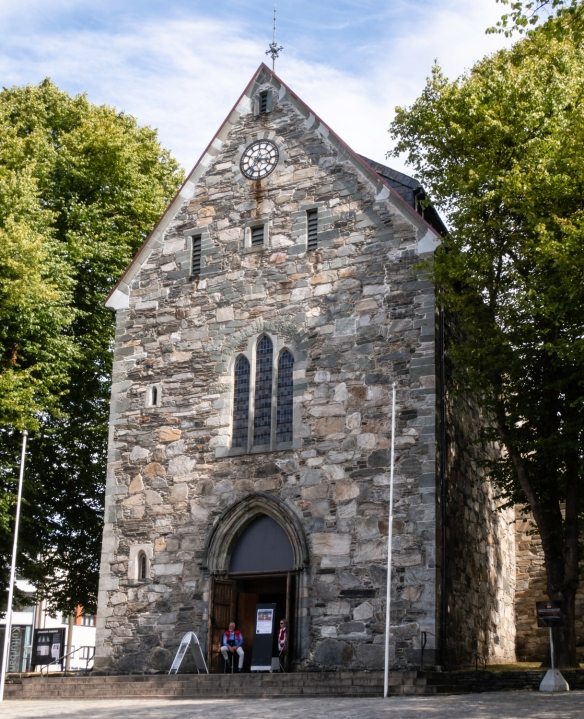 Located in the center of the city, across from a large plaza at the end of the harbor, the Stavanger Cathedral, also known as St. Swithun_s Cathedral [Norwegian- Stavanger Domkirke], i