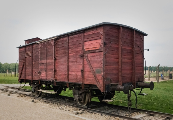 One of the Nazi railroad cattle cars used to transport detainees from cities all across Europe and as far south as Greece into Birkenau, Oświęcim, Poland, where 70% of those who arri