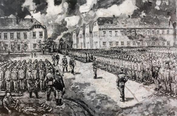 """Painting """"Roll-call in 1941"""" done in 1972 by a Polish Auschwitz survivor Mieczysław Kościelniak, Auschwitz, Oświęcim, Poland"""