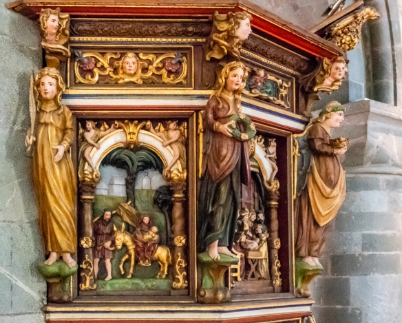 Scenes of the life of Jesus Christ carved on the Pulpit, Stavanger Cathedral, Stavanger, Norway