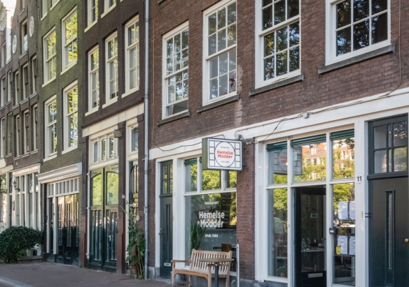 Situated in the historic harbor neighborhood of Amsterdam, The Netherlands, fronting on a canal, restaurant Hemelse Modder serves delicious Dutch-European dishes for dinner