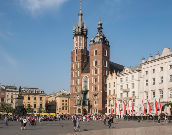 St. Mary_s Basilica, or Mariacka Cathedral, was rebuilt (as photographed) in the Gothic style in 1320 on the site of the original church that was destroyed in Tartar raids, Kraków, P
