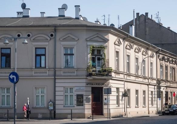 Tadeusz Pankiewicz_s pharmacy was situated on Plac Zgody – now called Ghetto Heroes Square -- in Kraków's Podgórze district (Kraków Ghetto), Poland; Tadeusz Pankiewicz was reco