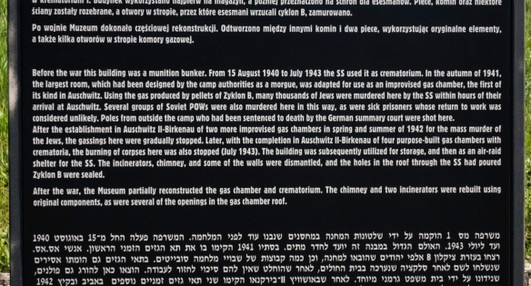 Text on sign from Auschwitz Museum; Auschwitz, Oświęcim, Poland (#15)