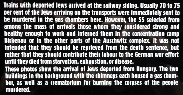 Text on sign from Auschwitz Museum, Birkenau, Oświęcim, Poland (#2)