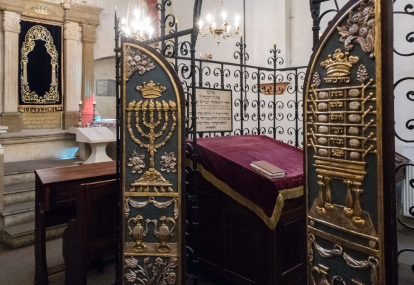 The Bima (with decorative doors) and the Torah Ark (Aron Hakodesh) in the restored Remuh Synagogue, Kazimierz (Jewish District), Kraków, Poland; dating from 1553, it is Kraków's smal