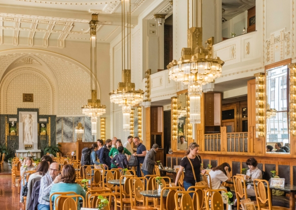 The café of the Municipal House is like a walk-in museum of art-nouveau design, Prague, Czech Republic