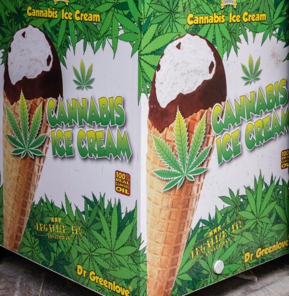 The first edible cannabis ice cream that we had seen, Prague, Czech Republic