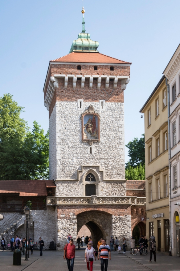 The Florińska Gate, built in 1307, is one of the eight original gates to the city of Kraków, Poland, and leads into the north side of Main Market Square [Polish- Rynek Glówny]