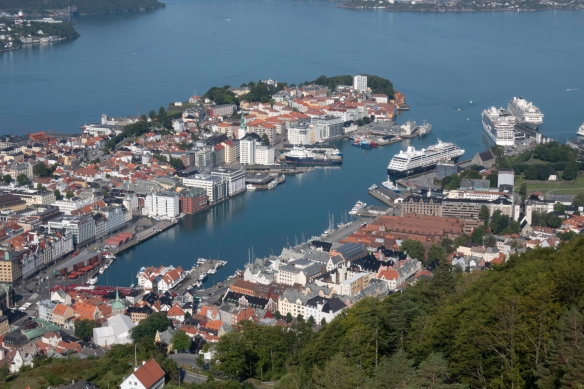 The inner harbor of Bergen, Norway -- Vågen Harbor -- is where the city was founded around 1070 A.D.; the long, brown-tiled warehouses on the right center of the photograph are a serie