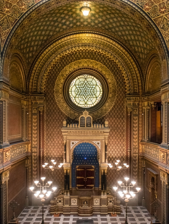 The interior of the Spanish Synagogue, Prague, Czech Republic, reflects many design elements that appear to have been influenced by Moorish designs, in particular, the Alhambra palace of