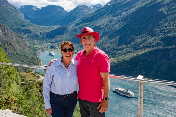 The intrepid explorer and your blogger at the Eagle Road viewpoint, Geirangerfjord, Norway