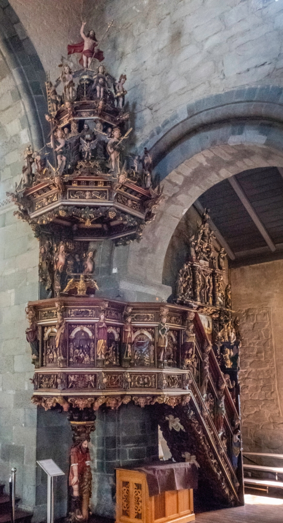 The most notable feature of the interior is the Pulpit that is post Reformation and dates back to the 1650s, made by Andrew Smith, Stavanger Cathedral, Stavanger, Norway