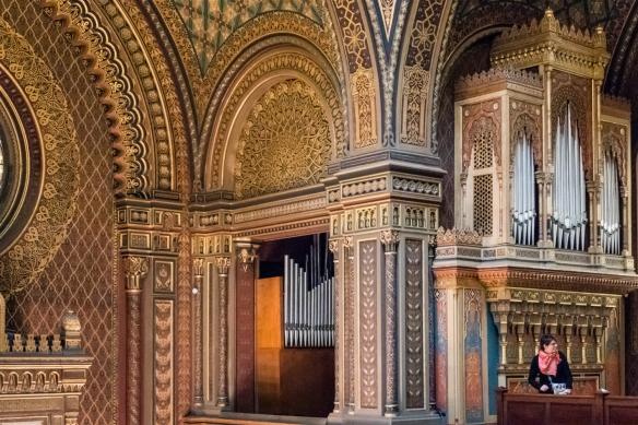 The organ and decorative design elements in the mezzanine of the Spanish Synagogue, Prague, Czech Republic