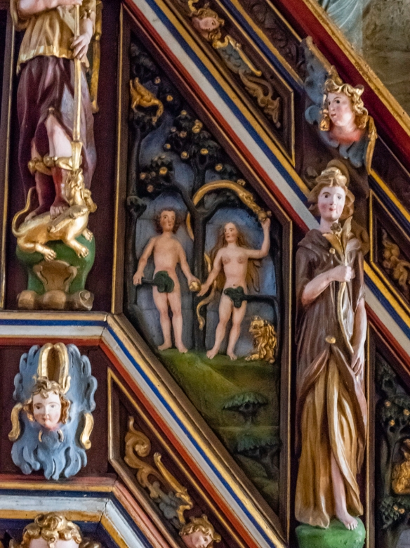 The Pulpit spans the complete history of the Bible, starting with Adam and Eve at the foot of the stairs, Stavanger Cathedral, Stavanger, Norway