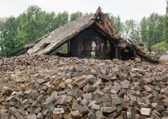 """The ruins of Crematorium III at the western end of Birkenau, Oświęcim, Poland; the Nazis destroyed the crematoria towards the end of World War II to """"erase"""" the evidence of the d"""
