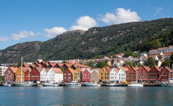 The seventeen restored, extant Bryggen gabled, wooden warehouses, Bergen, Norway