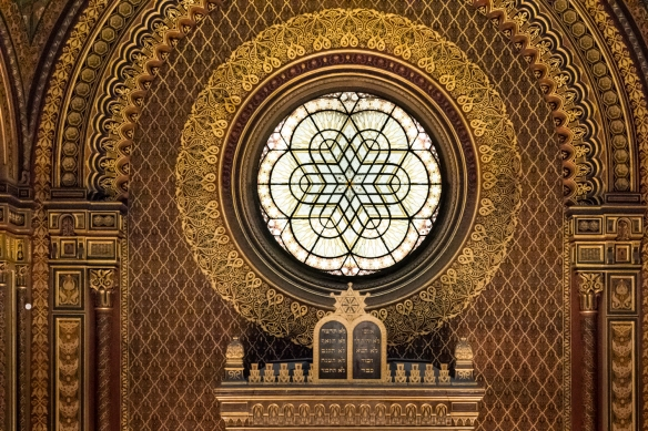 The stained glass window above the Torah Ark in the Spanish Synagogue, Prague, Czech Republic