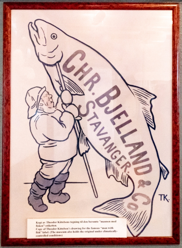 This drawing for a sardine can label was on display at the Norwegian Canning Museum [Norsk Hermetikkmuseum in Norwegian], housed in an old cannery in one of the wooden buildings in the m