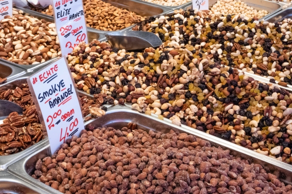 This stand had a vast selection of nuts, Albert Cuyp Market, Amsterdam, The Netherlands