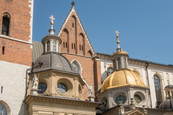 Two domes of Wawel Castle Cathedral which was consecrated in 1364 and built on the orders of Poland_s first king to be crowned at Wawel Castle, Wladyslaw the Short (a.k.a. Wladyslaw th