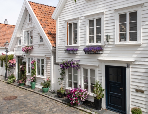 Two of the wooden homes in the Gamle Stavanger (Old Stavanger) district, Stavanger, Norway