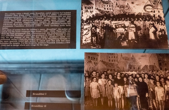 Two photographs of the performance of the children_s play, Brundibár, in Terezín concentration camp, filmed in 1944 for a Nazi propaganda film, Pinkas Synagogue, Prague, Czech Repu