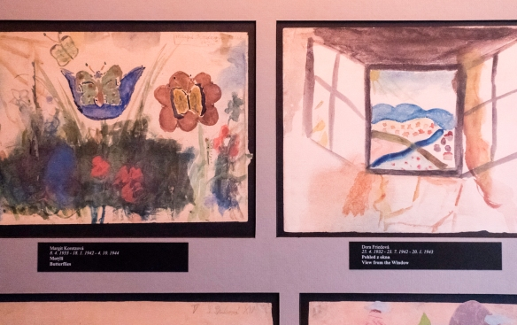 "Two water color drawings by young Jewish children who perished in a Nazi death camp following their internment in Terezín concentration camp -- in an exhibit titled ""Beyond the Looki"