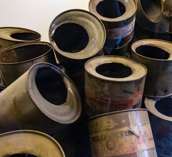 Used (empty) canisters of the poison gas, Zyklon B, that the Nazis dropped through holes in the roofs of crematoria (disguised as large community shower rooms), Auschwitz, Oświęcim,