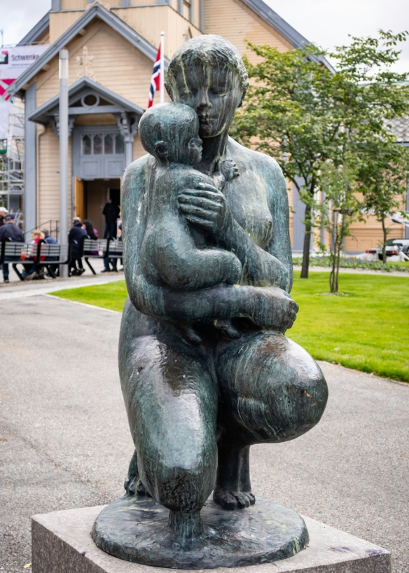 A beautiful statue in front of Tromsø Domkirke (Tromsø Cathedral), Tromsø. Norway