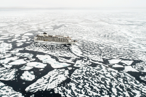 "A drone photograph of our ship in the Arctic Ice Pack at Latitude 82º 37""; photograph © 2018 by (and courtesy of) Richard Sidey"