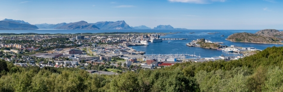 A panorama of the city center of Bodø, Norway, located just north of the Arctic Circle; it is the second-largest in North Norway and is the gateway to Norway's true north