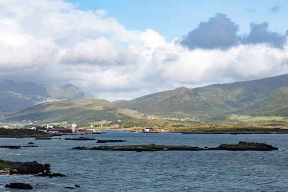 A view of the area east of the harbor in Leknes, Norway