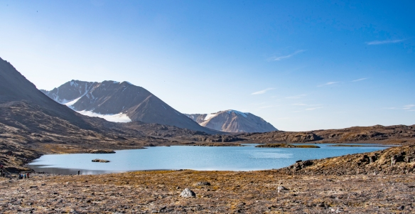 After hiking about a mile (1.6 km) from the landing site we came across this small lake and an important World War II site, nearby, Signehamna, Krossfjorden, Spitsbergen, Svalbard