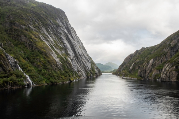 After our 180-degree turn at the end of Trollfjorden (Troll Fjord), Norway, we sailed back out through the very narrow entrance channel