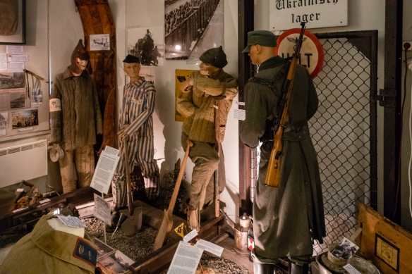 Artifacts from the Ukranian soldiers prisoner-of-war camp just outside of Svolvaer, Norway on display at the Lofoten Krigsminnemuseum
