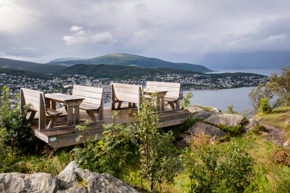 At the peak of Gangsåstoppen were these picnic tables which look inviting in the sunshine after a 20-minute windy downpour that we escaped as there is also a small hut with a couple of