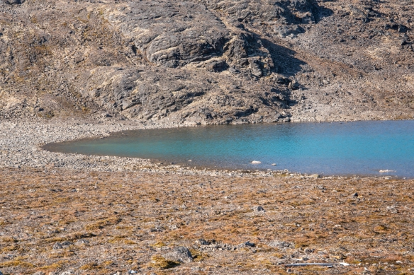 Downhill from the weather station was this small pond with beautiful hues in the water, Signehamna, Krossfjorden, Spitsbergen, Svalbard