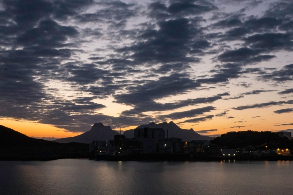 "Dusk, overlooking the harbor in Bodø, Norway, at 11-30 p.m. (the sunset was around 10-30 p.m. in the ""Land of the Midnight Sun"""