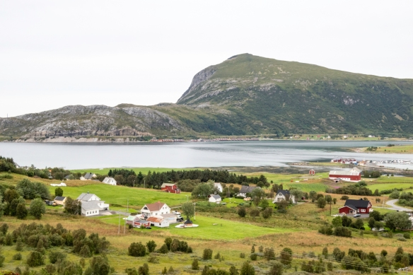 Farmland around Leknes, Norway, viewed from a hill that we climbed on our hike around the countryside