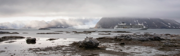 "Gnålodden, Hornsund Fjord, Spitsbergen Island, Svalbard, photograph #1 – a panorama of the storm clouds over Burgerbutka Fjord and our ship ""anchored"""