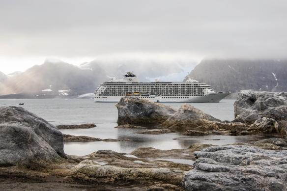 "Gnålodden, Hornsund Fjord, Spitsbergen Island, Svalbard, photograph #16 -- our ship ""anchored"" where the Hornsund Fjord becomes the Burgerbutka Fjord"