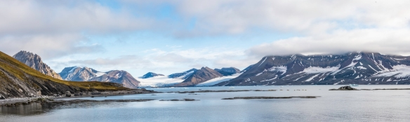 Gnålodden, Hornsund Fjord, Spitsbergen Island, Svalbard, photograph #17 – a panorama of Burgerbutka Fjord from the top deck of our ship after the storm clouds had lifted somewhat and