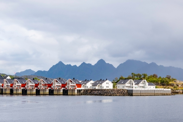 New hotel rooms (the red buildings) on the island hosting the first settlement in Svolvaer, Norway