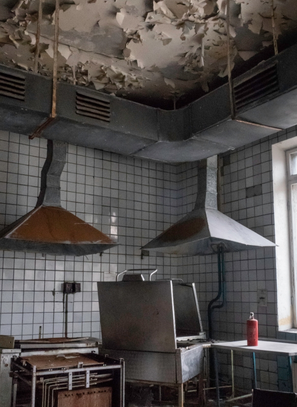 The abandoned kitchen of the cantina gives evidence that the departing workers expected the kitchen to be back in use a year or two after the 1998 evacuation of Pyramiden, Spitsbergen Is
